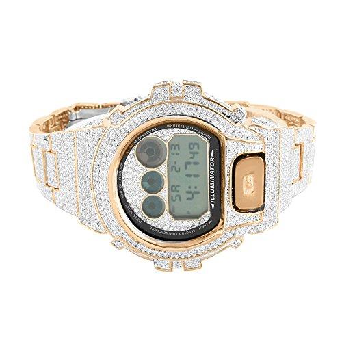 ICY Rose Gold Finish Sparkling Lab Diamond Copper Tone Genuine G Shock Watch Men