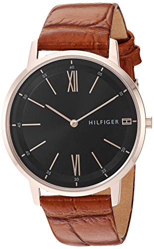 Tommy Hilfiger Men's Casual Stainless Steel Quartz Watch with Leather Strap