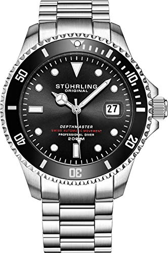 """Mens Swiss Automatic Stainless Steel Professional""""DEPTHMASTER"""" Dive Watch, 200 Meters Water Resistant, Brushed and Beveled Bracelet with Divers Safety Clasp and Screw Down Crown (Black)"""