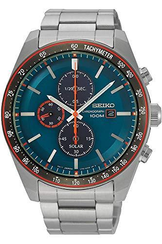 Seiko Men's 43.2mm Steel Bracelet & Case Hardlex Crystal Solar Blue Dial Analog Watch SSC717P1