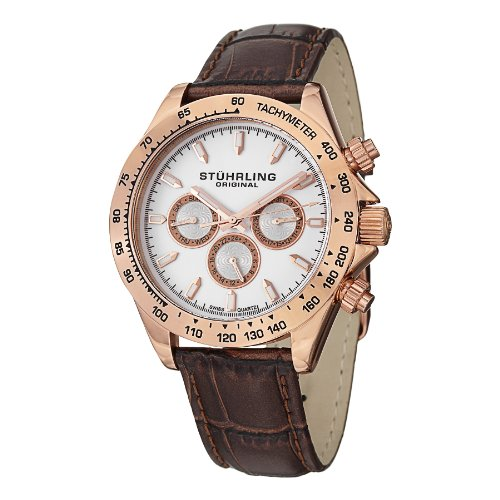 Stuhrling Original Men's 564L.03 Triumph Swiss Quartz Multifunction Rose Tone Watch