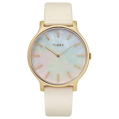Timex Women's Transcend 38 mm Leather Strap Cream