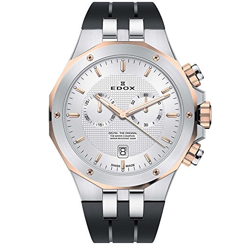 Edox Men's Delfin Stainless Steel Quartz Watch with Rubber Strap, Black, 24 (Model: 10110 357RCA AIR)
