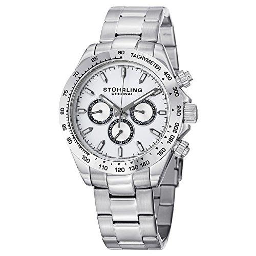 Stuhrling Original Men's 564.01 Concorso Raceway Swiss Quartz Tachymeter Day and Date Stainless Steel Bracelet Watch