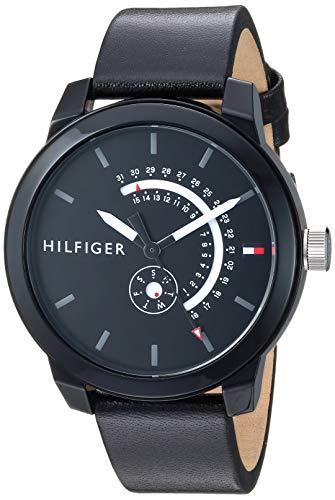 Tommy Hilfiger Men's Quartz Watch with Leather Calfskin Strap, Black, 18.8 (Model: 1791479)