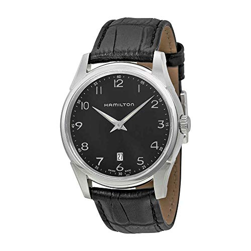 """Hamilton Men's H38511733 """"Jazzmaster"""" Stainless Steel Watch with Black Leather Band"""