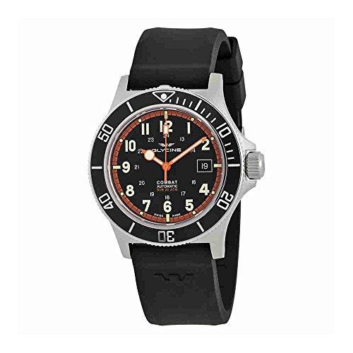 Glycine Combat Sub Automatic Black Dial Mens Rubber Watch GL0088