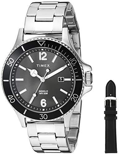 Timex Men's TWG019700 Harborside Silver-Tone/Black Stainless Steel Bracelet Watch Gift Set + Black Genuine Leather Strap
