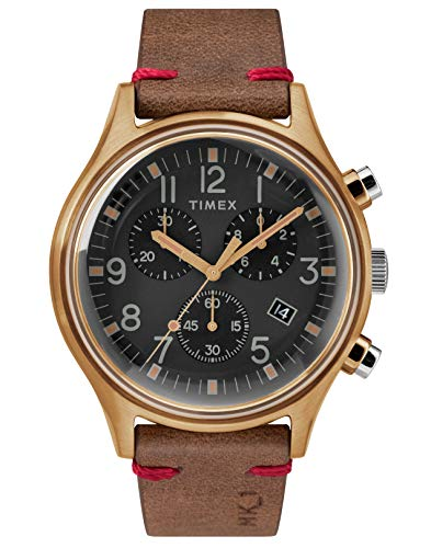 Timex Mens Chronograph Quartz Watch with Leather Strap