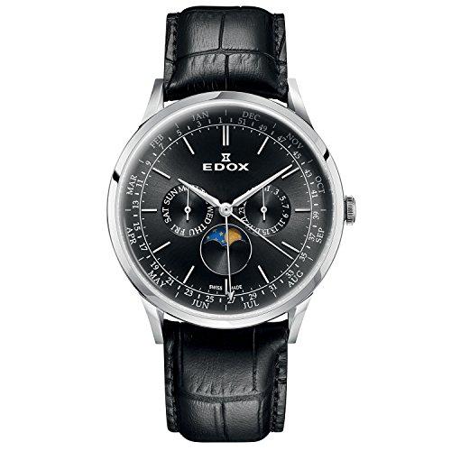 Edox Men's Les Vauberts 42mm Black Leather Band Steel Case Sapphire Crystal Quartz Watch 40101 3C NIN