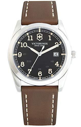 Victorinox Infantry Black Dial Leather Strap Mens Watch 241563XG (Renewed)