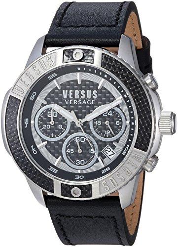Versus by Versace Men's Admiralty Stainless Steel Quartz Watch with Leather Calfskin Strap, Beige, 21.4 (Model: VSP380117)