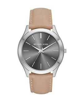 Michael Kors Men's Slim Runway Stainless Steel Quartz Leather Strap, Brown, 22 Casual Watch (Model: MK8619)
