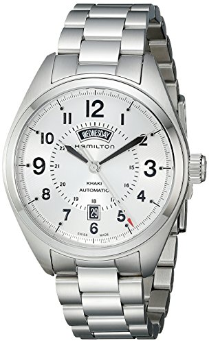Hamilton H70505153 Watch Khaki Field Mens - Silver Dial Stainless Steel Case Automatic Movement
