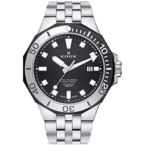 Edox Men's Delfin The Original 43mm Silver-Tone Metal Bracelet Steel Case Quartz Watch 53015 357NM NIN
