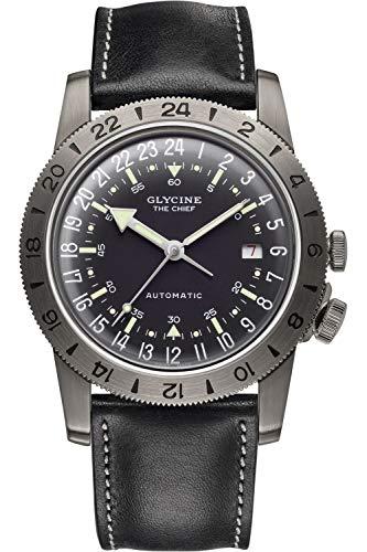 Glycine Airman Mens Analog Swiss Automatic Watch with Leather Bracelet GL0252