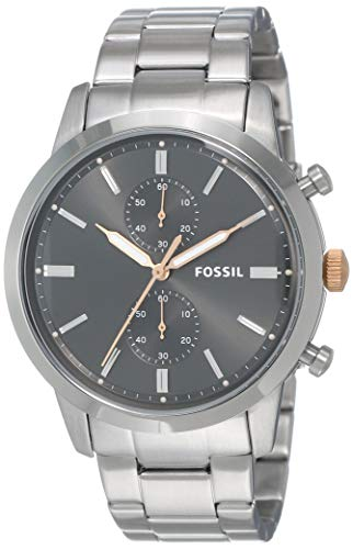 Fossil Men's Townsman Quartz Watch with Stainless-Steel Strap, Silver, 10 (Model: FS5407)