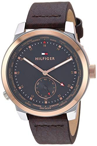 Tommy Hilfiger Men's Quartz Watch with Leather Calfskin Strap, Brown, 19.5 (Model: 1791554)