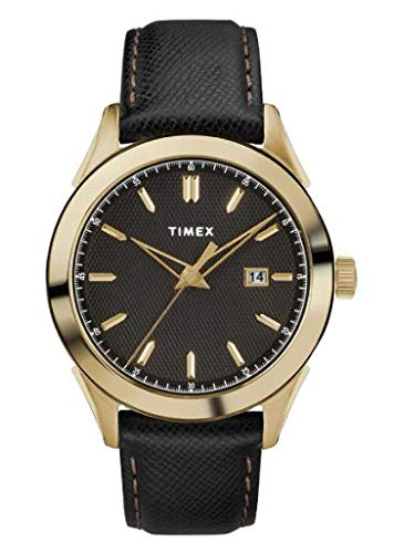 TIMEX Black Leather Watch-TW2R90400
