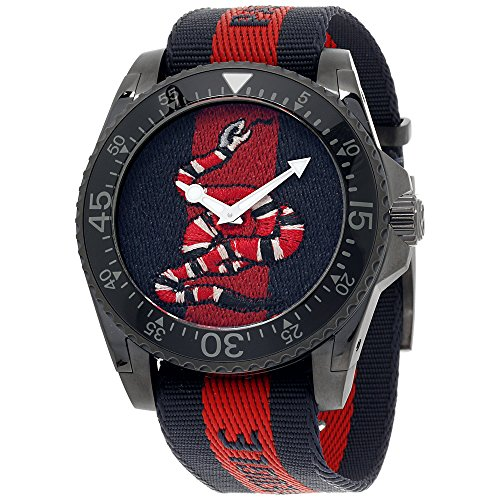Gucci Dive Blue & Red Dial Nylon Strap Men's Watch YA136214