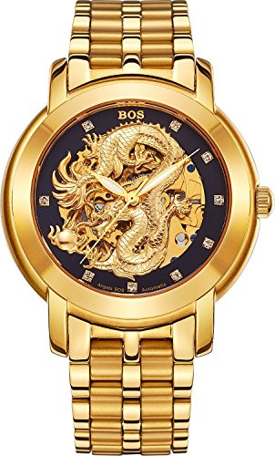 BOS Men's 'Dragon Collection' Luxury Carved Dial Automatic Mechanical Bracelet Waterproof Gold Watch 9007 (Gold)