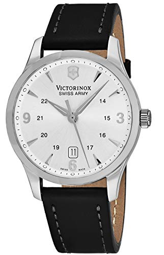 Victorinox Alliance Silver Dial Leather Strap Mens Watch 249034XG (Renewed)