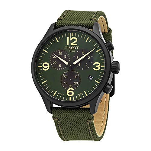 Tissot Men's Chrono XL Fabric Green Stainless Steel Watch