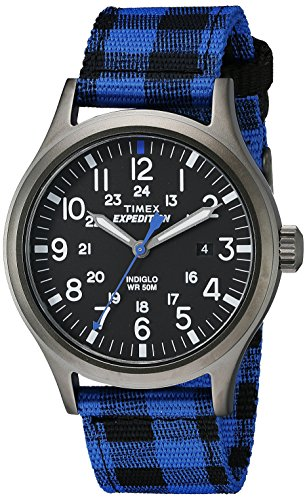 Timex Men's Expedition Scout Blue Buffalo Check Nylon Strap Watch