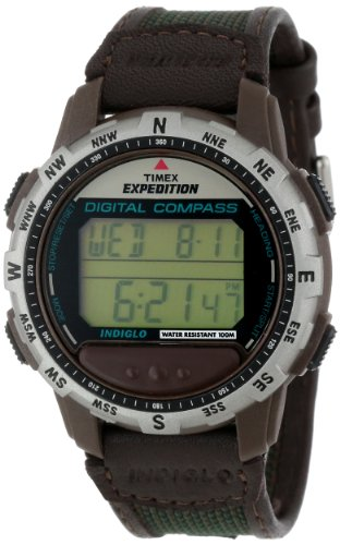 Timex Men's T77862 Expedition Digital Compass Leather and Nylon Strap Watch