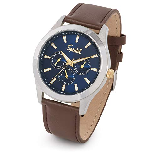 Speidel Men's Chrono Stainless Steel Blue Sunray Dial Watch with Brown Leather Strap