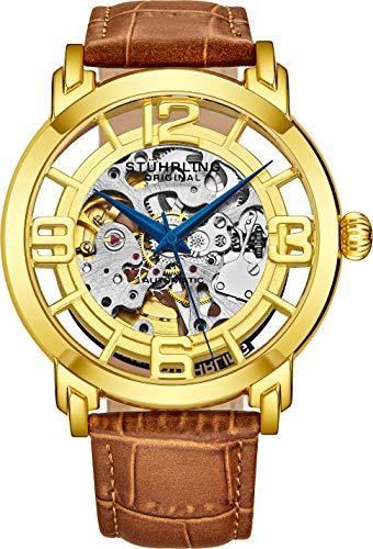Stuhrling Original Men's 165B2.3335K31 Winchester 44 Automatic Skeleton Goldtone Dial Watch