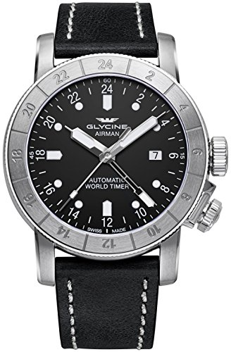 Glycine Airman Worldtimer GMT Automatic Black Dial Black Leather Men's Watch GL0056