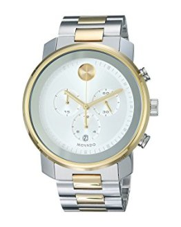 Movado Men's BOLD Metals Chronograph Watch with Printed Index Dial, Silver/Grey/Gold (3600432)
