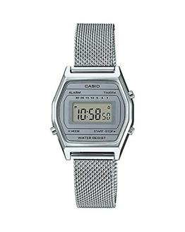 Casio LA690WEM-7 Women's Vintage Youth Silver Mesh Band Alarm Chronograph Digital Watch