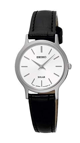 Seiko Women's Quartz Watch with Black Dial Analogue Display Quartz Leather SUP299P1