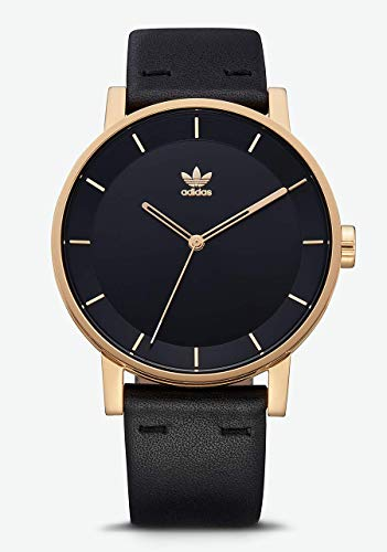 Adidas Watches District_L1. Genuine Leather Strap Watch, 20mm Width (Gold/Black/Sunray. 40 mm).