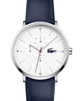 Lacoste Stainless Steel Quartz Watch with Leather Strap, Blue, 19.5 (Model: 2010975)