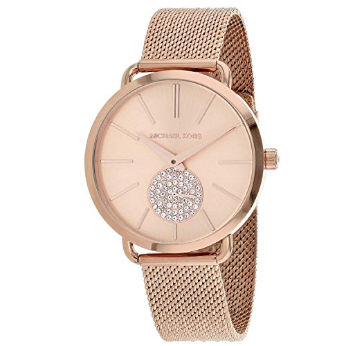 Michael Kors Women's Portia Analog-Quartz Watch with Stainless-Steel Strap, Rose Gold, 16 (Model: MK3845)
