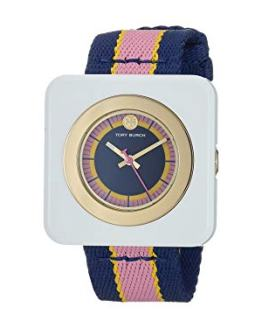 Tory Burch Women's The Izzie Watch, 36mm, Navy/Gold/Ivory, One Size