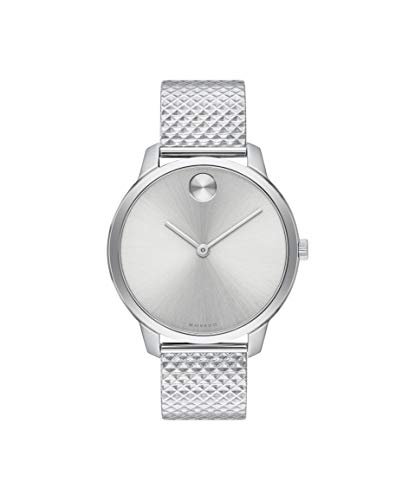 Movado Bold, Stainless Steel Case, Silver White Dial, Stainless Steel Mesh Bracelet, Women, 3600595