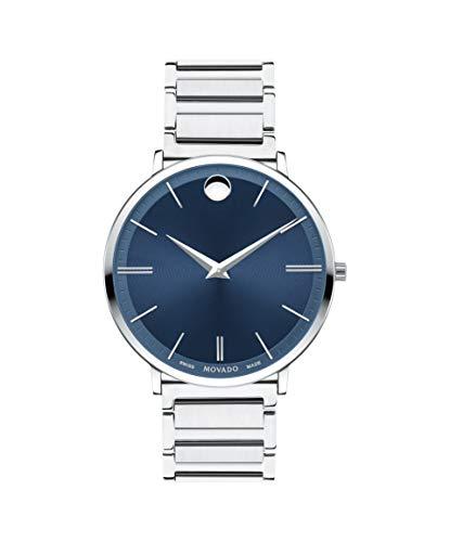 Movado Ultra Slim, Stainless Steel Case, Blue Dial, Stainless Steel Bracelet, Men, 0607168