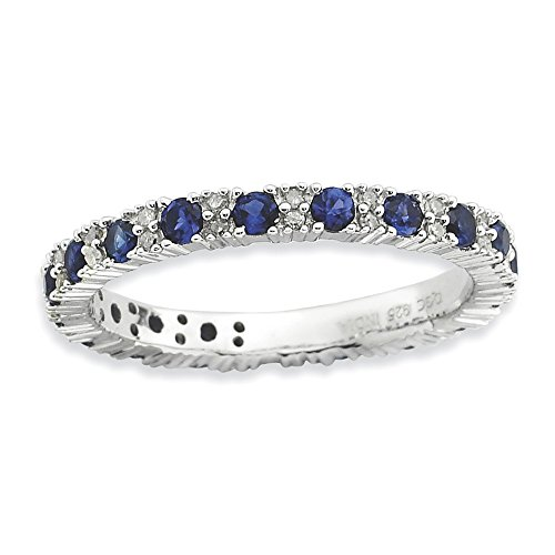 925 Sterling Silver Created Sapphire Diamond Band Ring