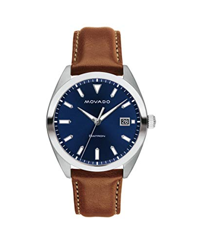 Movado Heritage, Stainless Steel Case, Blue Dial, Cognac Leather Strap