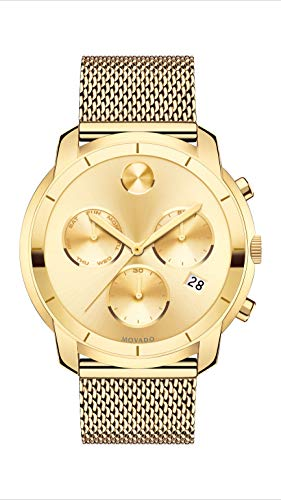 Movado Men's BOLD Thin Yellow Gold Chronograph Watch with a Printed Index Dial, Gold (Model 3600372)
