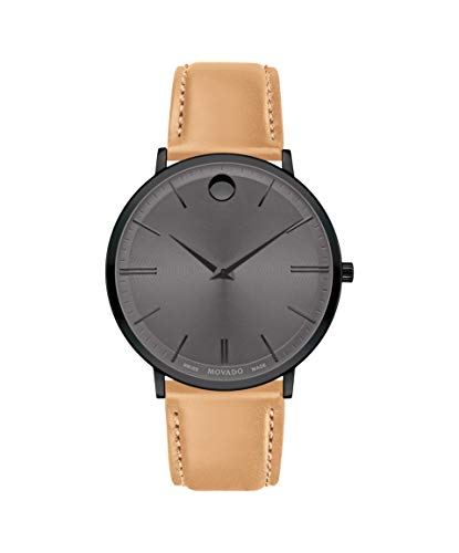 Movado Ultra Slim, Black PVD Case, Grey Dial, Beige Leather Strap, Men, 0607378