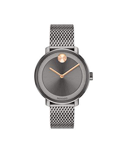 Movado Bold, Ionic Plated Grey Steel Case, Grey Dial, Grey Steel Mesh Bracelet, Women, 3600581