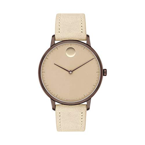 Movado FACE, Bronze Ion-Plated Stainless Steel Case, Sand Dial, Beige Leather Strap, Women, 3640012