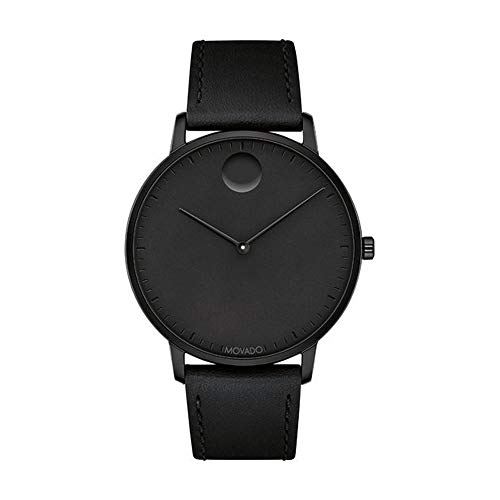 Movado FACE, Black Ion-Plated Stainless Steel Case, Black Dial, Black Leather Strap, Men, 3640002