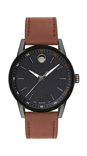 Movado Men's Museum Gunmetal Watch with a Concave Dot Museum Dial, Black/Brown (Model 607224)