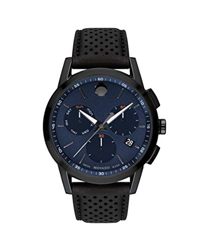 Movado Men's Museum Grey & Black Pvd Case with a Blue Dial on a Black Calfskin Strap (Model:0607360)